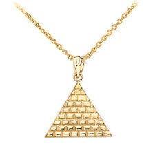 Fine 10k Yellow Gold Egyptian Pyramid Geometric Triangle Pendant Necklace