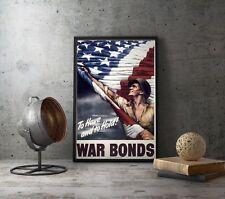 WW2 US Flag American Propaganda Poster WWII War Bonds Repro Militaria Decor Art