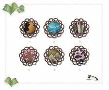 34mm Antique Brass & Silk Lapel Pin Brooch - Multi Green Turquoise Pink Black...