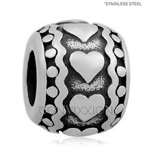 Stainless Steel European Charm Bead Heart Spacer Love Gift Family Polka Dots Fun