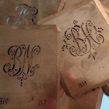 Hübsches Geschenk: Alte Kupfer Monogramm Schablone / Sticken / Kombis BA bis BZ