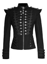 Giacca nera militare con spalline e ricamo, gotico retro Punk Rave