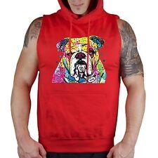 Men's English Bulldog Red Sleeveless Workout Hoodie Fitness Neon Dog Puppy Paint