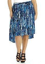 Dipped Hem Chiffon Tribal Print Skirt 26 28  Blue/Multi