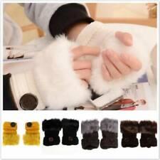 Faux Rabbit Fur Half Fingerless Gloves Men and Women Warm Cotton Knitted Mittens