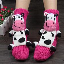 Women Cute 3D Socks Cow Dog Animal Christmas Gift Warm Winter Wool Slipper Socks