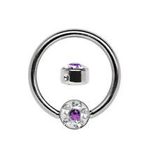 Titan Septum Piercing Ring Bcr 1,6mm with 4mm Epoxy Rhinestone Plate,Size 6-12mm