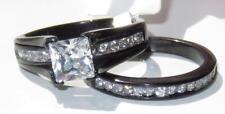 TK0W383j PRINCESS WEDDING BAND ENGAGEMENT RING SET SIMULATED DIAMOND RING BLACK