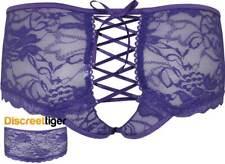Sexy Purple Boyshorts Shorties Crotchless Floral Lace Briefs Plus Size Panties