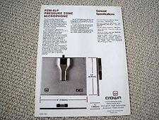 Crown PZM-6LP pressure zone microphone brochure