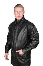 Gentlemens Real Leather Classic Parka Jacket Black Mens 3/4 Long Car Coat NEW
