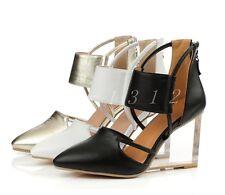 Womens Hollow Transparent Crystal Wedge High Heel Zipper Summer Pointed Toe Shoe
