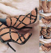 Fashion Womens Peep Toe High Heels Sexy Stiletto Cross Strap Shoes Sexy Sandals