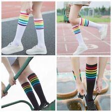 Thigh High Cotton Rainbow Stripe Stocking Long Hosiery Football Socks