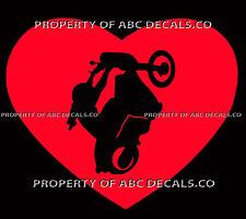 Vrs Heart Love Motorcycle Chopper 2 Hand Wheelie Stunt Girl Car Vinyl Decal
