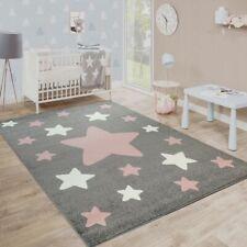 Kinderteppich Sterne Kinderzimmer Niedlich Mehrfarbig Grau Weiß Pastell Rosa