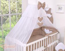 Lit à tiroir blanc coeur  pour bébé (set complet) set 19 pièces,matelas,parure