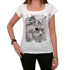 Cat Maine Coon Tshirt,Col Rond,Femme T-shirt,cadeau