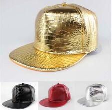 07ffab4c6155bf Fashion PU Snapback Baseball Cap Adjustable Hip Hop Sports Flat Brim Hat  Stylish