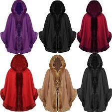 Nouveau femmes célébrité en fausse fourrure à capuche wrap botes cape femmes manteau manteau 8 - 18