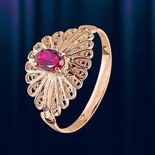 Synth. RUBIN Ring russische Rose Gold 585 Goldring Vintage-Stil 2.3g Glänzend!.
