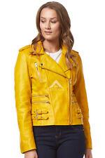 'MYSTIQUE' Ladies yellow Biker Style Motorcycle Designer Nappa Leather Jacket
