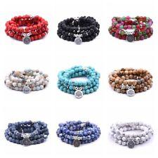 8MM Fashion Natural Stone Bracelet 108 Mala Yoga Necklace Matte Smooth Jewelry