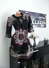♥ NEU Stiefelkleid Kleid Freizeit Tunika Blumen lila 32 34 36 38  gr  ♥