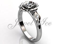 14k White Gold Diamond Leaf and Vine Unique Flower Engagement Ring ER-1115-1