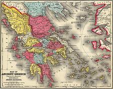 1875 Ancient Greece Map - Wall Art Poster Decor History Teacher Gift Home School