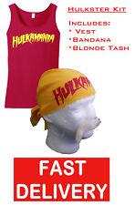 HOGAN HULKAMANIA HULK FANCY DRESS WRESTLING WRESTLER RED VEST, BANDANA & 'TASH