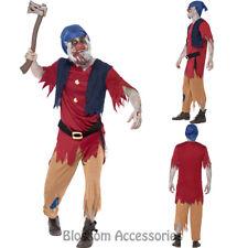 CL931 Mens Zombie Dwarf Fairy Tale Snow White Halloween Fancy Dress Up Costume