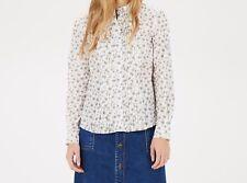 warehouse floral print white multi  dandelion pintuck shell blouse uk size 6