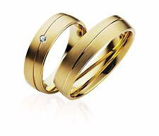 2x JC Trauringe Eheringe Gold Plattierte Verlobungsring inkl. Gravur & Etui P902