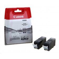 Canon Twin Pack 2 x PGI-520BK Black Original OEM Pixma Inkjet Cartridges