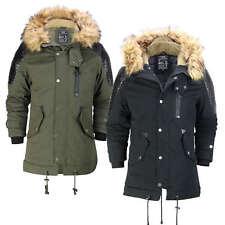 Mens Winter Jacket Warm Padded Faux Leather Retro Biker Style Fur Hood Parka