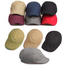 Unisex Mens Single Color Flat Cap Plain Newsboy Cabbie Gatsby Casual Driver Hats