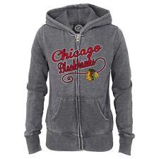 Chicago Blackhawks NHL Girls Grey Full Zip Fleece Hooded Jacket (4-16)