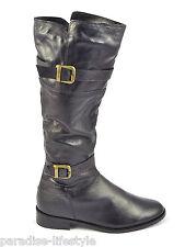Pour femme fourrure doublé Bottes hautes à boucle zip-up Équitation Chaussures en cuir tailles