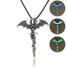 Glow In The Dark Luminous Leather Cross Dragon Pendant Necklace Men's Jewelry