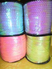 ruban galon sequin paillette 6mm scrapbooking vendu au mètre couleurs aux choix