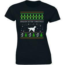 English Setter Christmas Shirt Funny Animal Lover Xmas Gift Women T-shirt Ugly