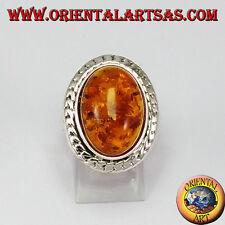 Anello d'argento con Ambra ovale grande