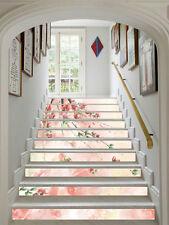 3D Pink flower Stair Risers Decoration Photo Mural Vinyl Decal Wallpaper AU
