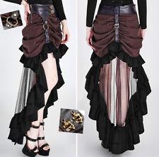 Jupe gothique lolita steampunk néo victorienne rayé voilage traîne cuir Punkrave