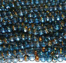 "G1791L Black Smoke Clear 8mm Round Drawbench Metallic Swirl Glass Beads 32"""