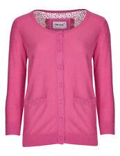 New M&S Per Una Pink Pure Cotton Knit 3/4 Sleeve Cardigan Sz UK 10