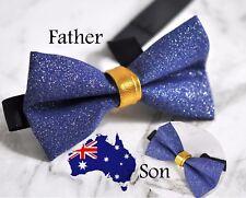 Father Son 100% Handmade Shining Royal Blue  Indigo Faux Leather Bow Tie Bowtie
