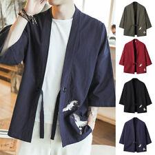 giapponese stile manica 3/4 da uomo Primavera Giacca RICAMO kimono FORTI