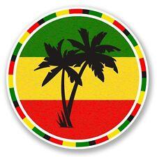 2 x Jamaica Rasta Palm Tree Vinyl Sticker Laptop Travel Luggage Car #5649